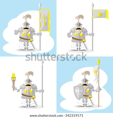 A set of vector shapes funny toy medieval knight in white cloak with spear and flag isolated on white background - stock vector