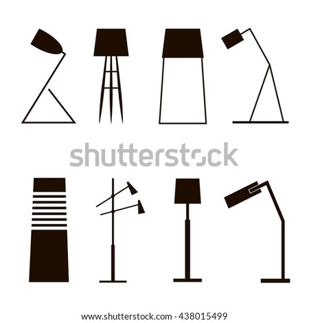 A set of vector silhouettes of household lamps and floor lamps. Vector