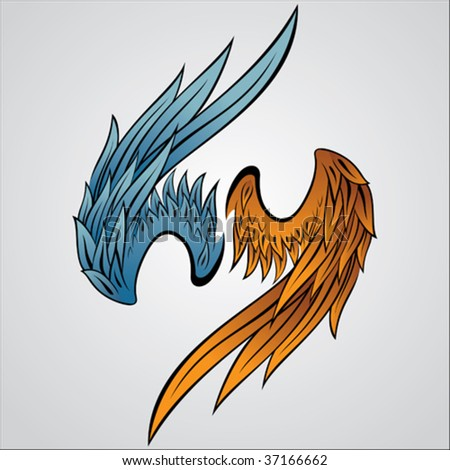 a set of vector wing illustration - stock vector