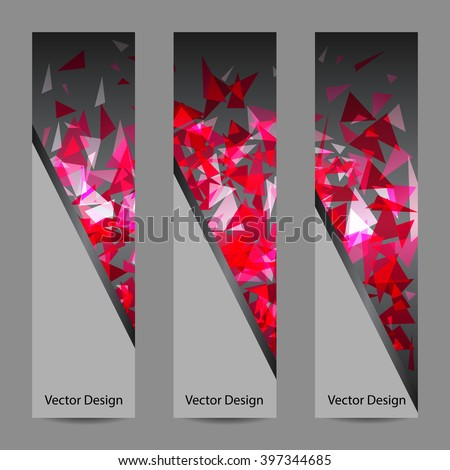 A set of vertical vector banners with pink triangles on dark background. Abstract explosion. Business, science, medicine and technology design. - stock vector