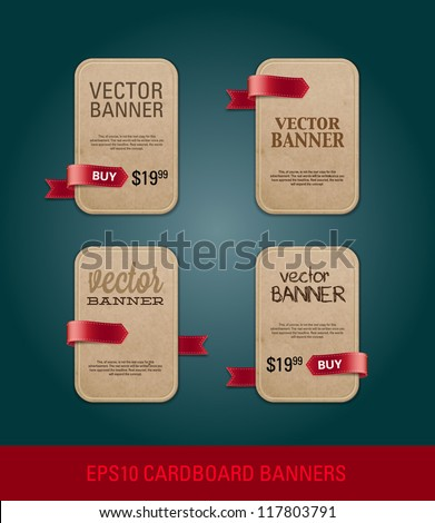 A set of vertical vector cardboard paper promo banners decorated with red ribbon tags - stock vector
