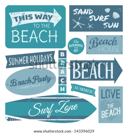 A set of vintage beach design elements in blue isolated on white background. - stock vector