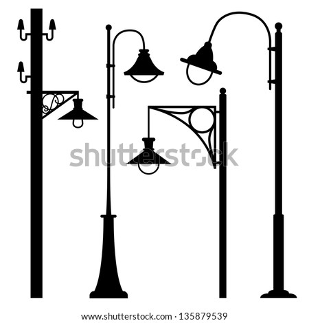 A set of vintage electric posts - stock vector