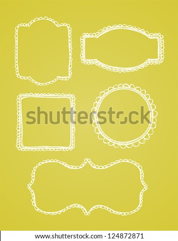 A set of vintage lace hand drawn borders are shown on a yellow background. - stock vector
