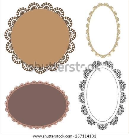 Set Vintage Oval Patterned Lace Frames Stock Vector (2018) 257114131 ...