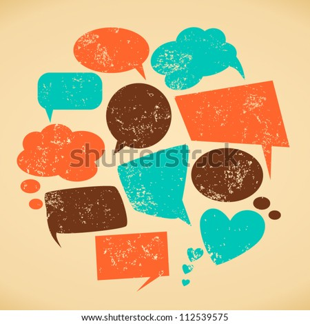 A set of vintage speech bubbles. Grunge texture easy to remove. - stock vector