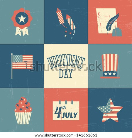 A set of vintage style cards for Independence Day. - stock vector