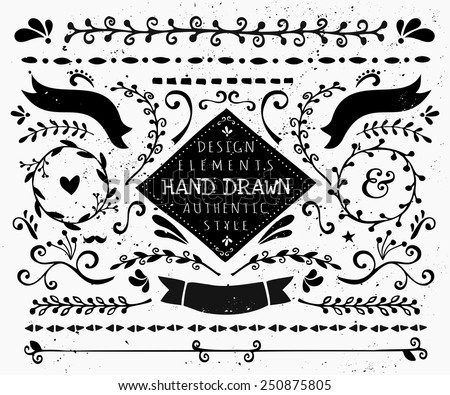 A set of vintage style design elements in black and white. Hand drawn decorative elements and embellishments. Borders, ribbons, swirls, labels and other retro style graphics. - stock vector