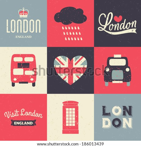 A set of vintage style greeting cards with London symbols. - stock vector
