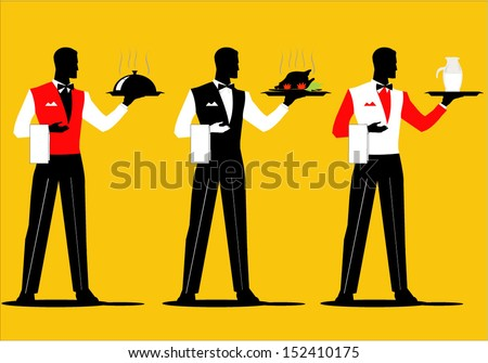 A set of waiter holding a tray with various  uniform. Dish up various cuisine - stock vector