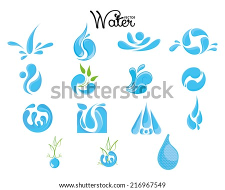 a set of water icons on a white background