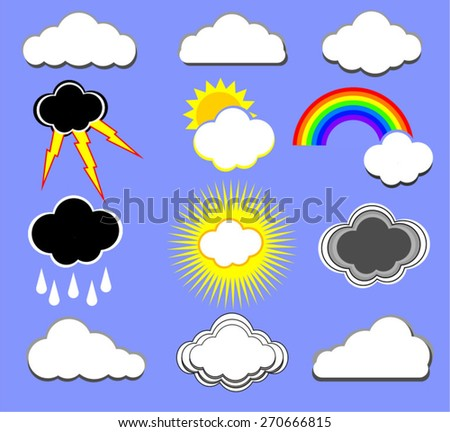 A set of weather cloud icon vectors with sun, rain, lightning and rainbow elements isolated on a blue background - stock vector
