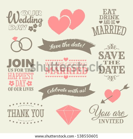 A set of wedding design elements and icons. - stock vector