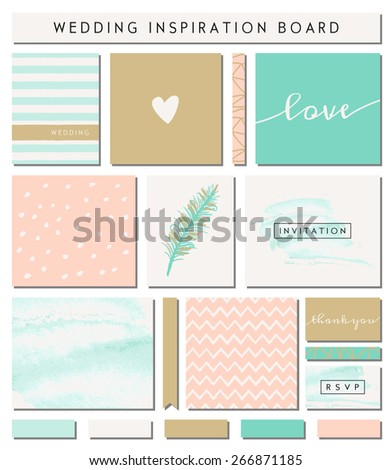 A set of wedding invitation templates, seamless patterns, ribbons and cards isolated on white. Pastel pink, turquoise green, golden, teal and white color palette. Wedding inspiration board designs. - stock vector