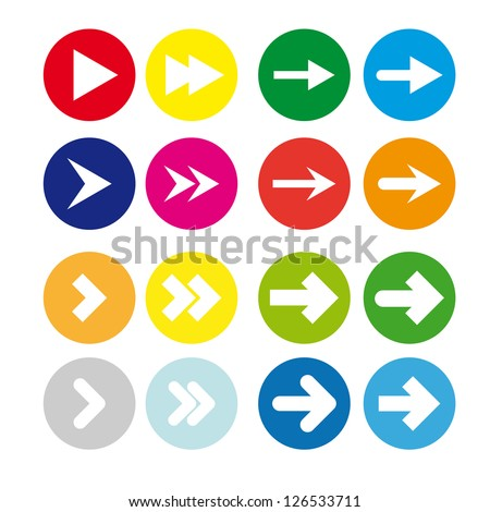 A set of white arrows in the colored circles on a white background - stock vector