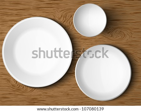 a set of white dishes on a wooden table - stock vector