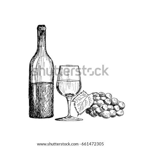 A Set Of Wine Glass Bottle And Bunch Grapes Vintage