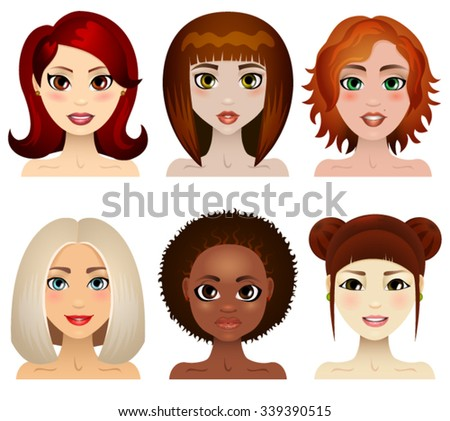 A set of  women faces of various ethnicity. Vector illustration to use in fashion, skincare, beauty and  hair style products.