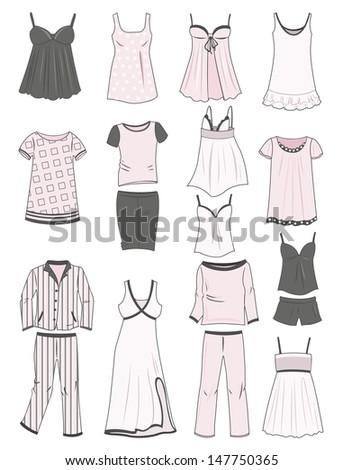 A set of women's pajamas and nighties - stock vector