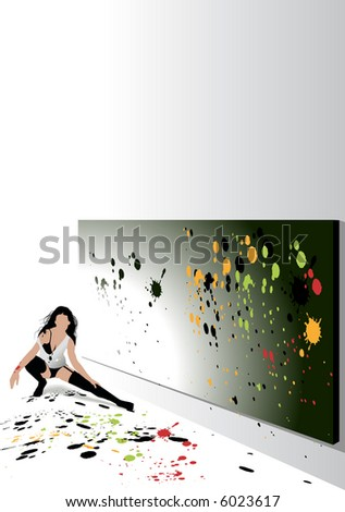 A sexy artist in a pair of stockings - stock vector