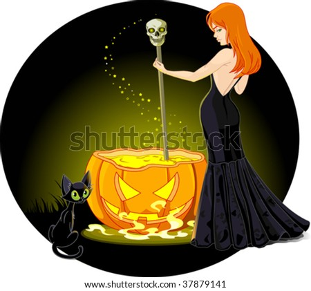 A sexy witch mixes a potion in her cauldron. Background on separate layer for easy editing. - stock vector
