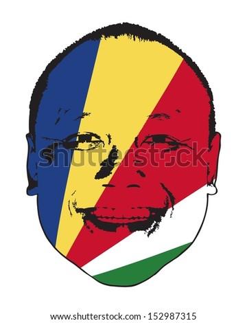 A Seychelles flag on a face, isolated against white.  - stock vector
