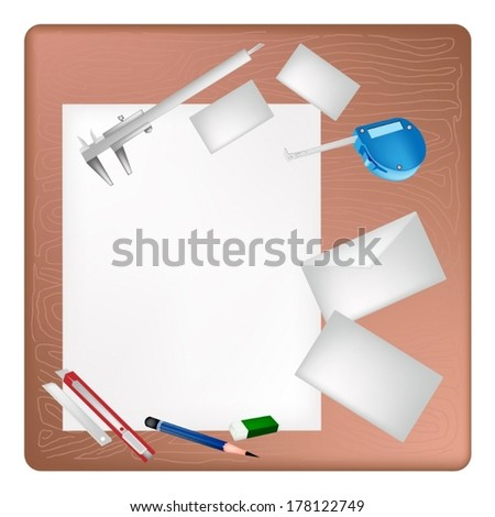 A Sharpened Pencil, Eraser, Vernier Caliper, Tape Measure Device and Utility Knife Lying on Blank Paper with Name Cards and Envelope on Architect Working Table.