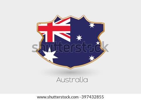 A Shield Flag Illustration of Australia - stock vector