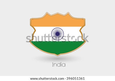 A Shield Flag Illustration of India