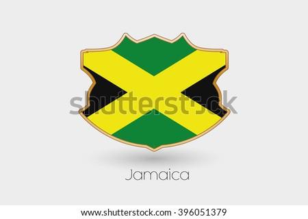 A Shield Flag Illustration of Jamaica - stock vector