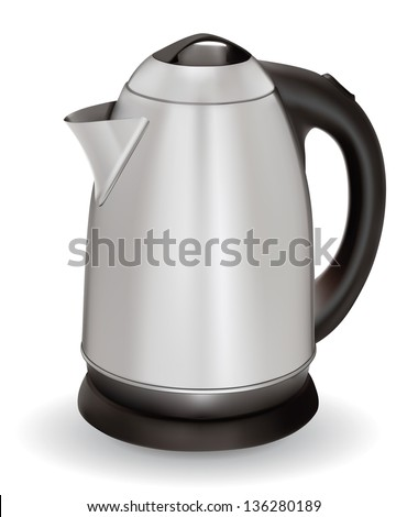A shiny electric kettle isolated against a white background. EPS-10 - stock vector