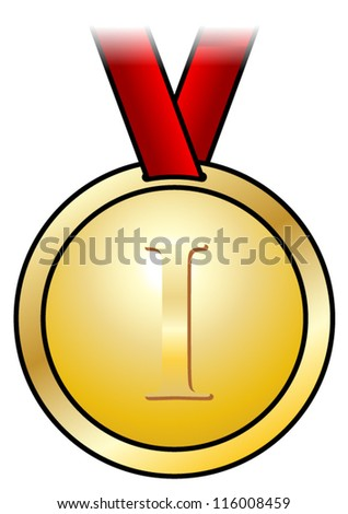 A shiny gold medal with a simple design and a red satin ribbon. Shown front-on. - stock vector