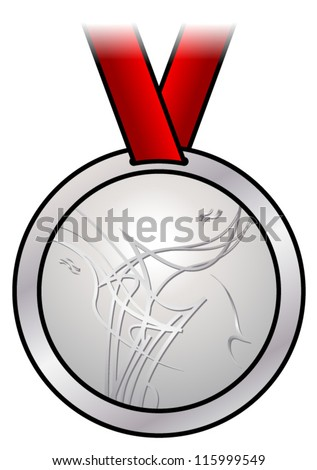 A shiny silver medal with a modern abstract design and a red satin ribbon. Shown front-on. - stock vector