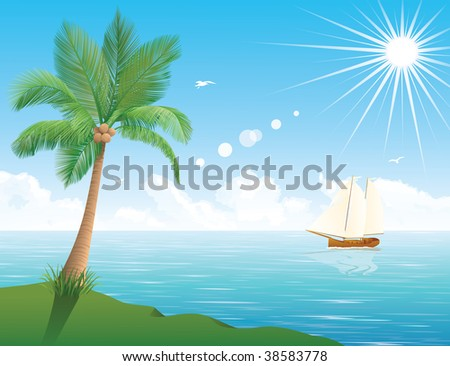 A ship at the sea in the background. Palm tree in the foreground. The sun is shining in the sky. - stock vector