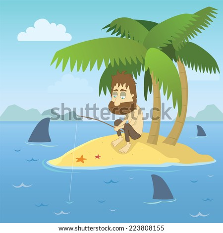 A shipwrecked person who has found himself stranded on a desert island with no chance of escape. - stock vector