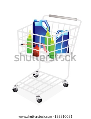 A Shopping Cart Full with Various Size of Engine Oil or Motor Oil Packaging in Oil Can, Big Bottle and Small Bottle for An Engineering Workshop