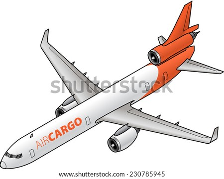 A short to medium haul cargo jet with three engines. - stock vector
