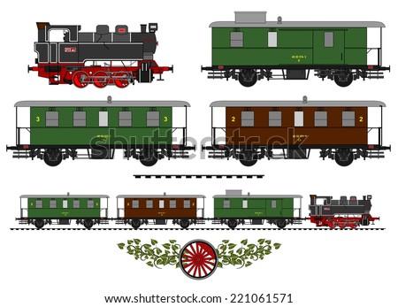 A side illustration of vintage train.  - stock vector