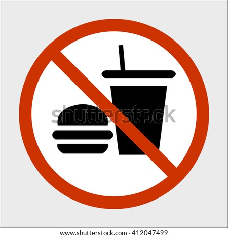 a sign can not eat and drink, round sign, editable vector image - stock vector