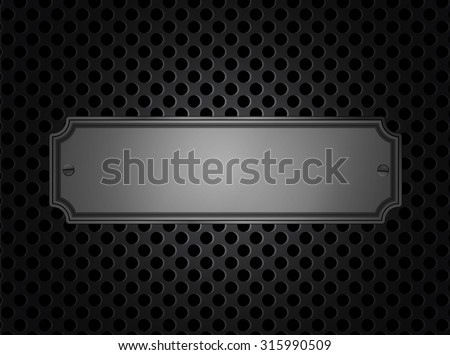 A sign on the metal lattice background plate - stock vector