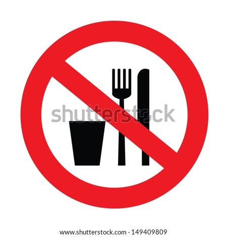 a sign showing no food and drink allowed - stock vector