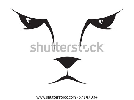 A silhouette drawing of a cat face. - stock vector