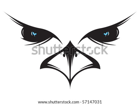 A silhouette drawing of an owl face. - stock vector