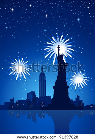 A silhouette illustration of New York City at night with fireworks as the background - stock vector