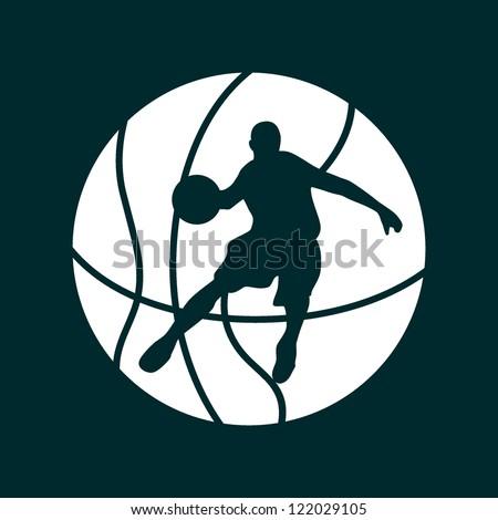 A silhouette of a basketball - stock vector