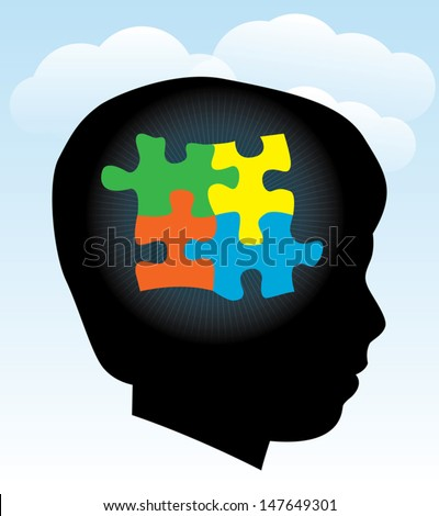 A silhouette of a child with symbolic autism puzzle pieces. EPS 10. Transparencies used. - stock vector