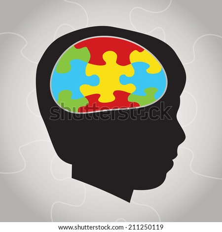 A silhouette of a child with symbolic autism puzzle pieces making the brain space. Vector EPS 10. - stock vector