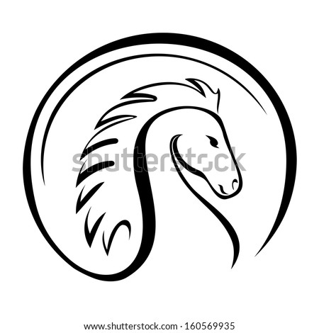 A silhouette of a horse head. - stock vector