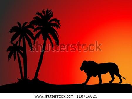 A silhouette of a lion on the hunt - stock vector