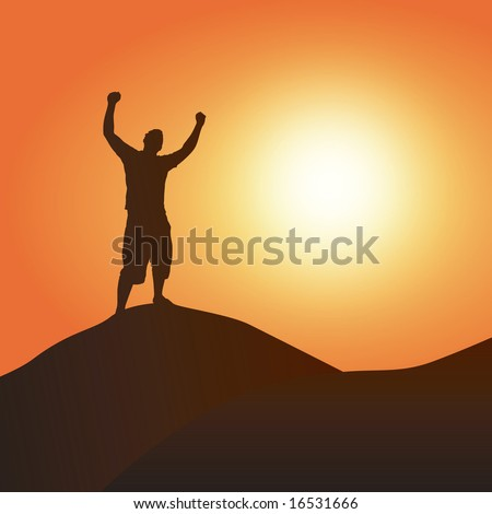 A silhouette of a man atop a mountain with his arms raised up in the air. - stock vector